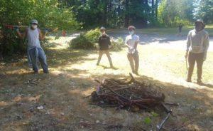 Building a compost pile.